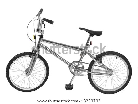 A silver bicycle isolated on white. - stock photo