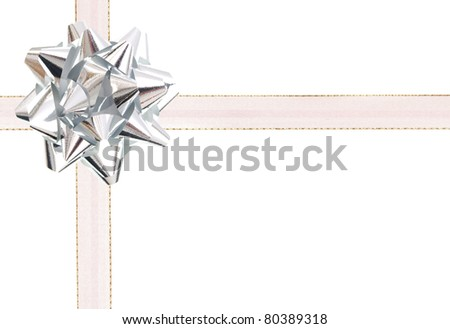 A silver bow gift background - stock photo