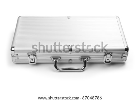 A silver briefcase isolated on a white background - stock photo