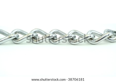 A silver chain un horizontally and isolated on white.