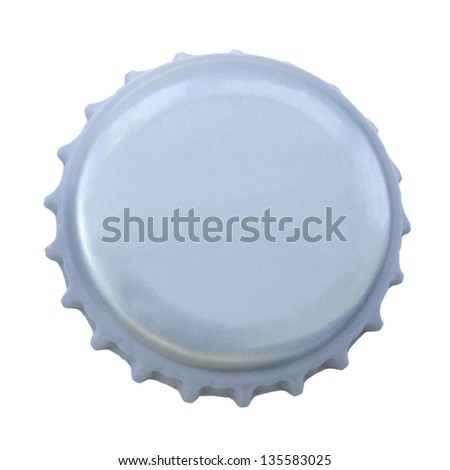 A silver colored metal cap, used for glass soda bottles. Isolated on white background.