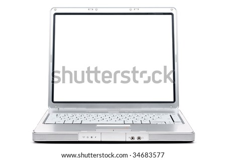 A silver computer notebook on white with a blank screen