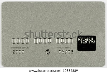 A silver credit card with all the numbers and names fake. - stock photo