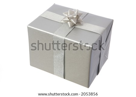 a silver gift with a  bow on white - stock photo