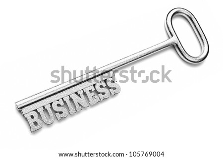 a silver key with word isolated on white, business concept