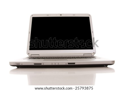 a silver laptop with a black screen (isolated on white) - stock photo