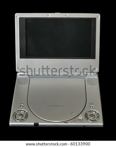 A silver portable DVD or movie player isolated on black background - stock photo