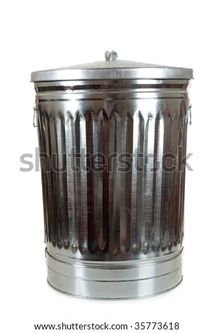 a silver trash can on a white background with copy space
