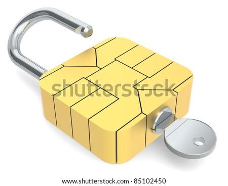 A Sim Card Chip made like a Padlock. - stock photo