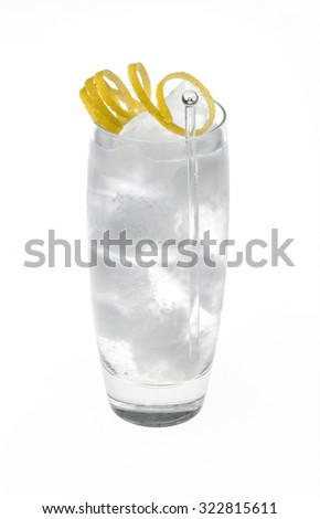 A simple cocktail in a fancy glass on white with ice