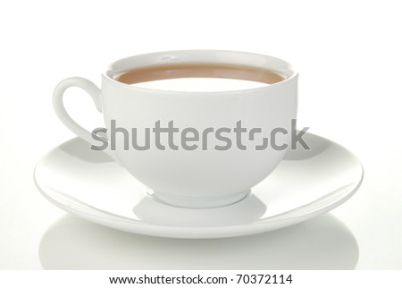 A simple cup of green tea on a white background - stock photo