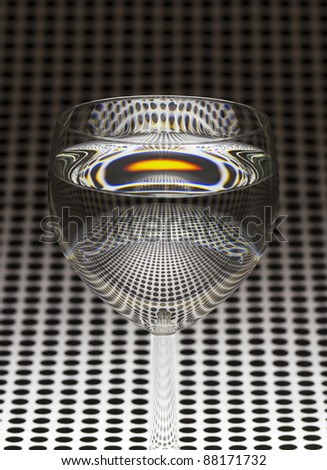 A simple glass of water, reflection of the dots - stock photo