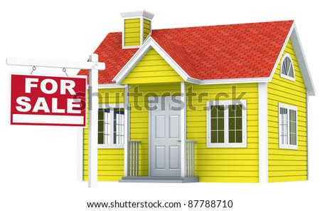 A simple house with a For Sale sign - stock photo