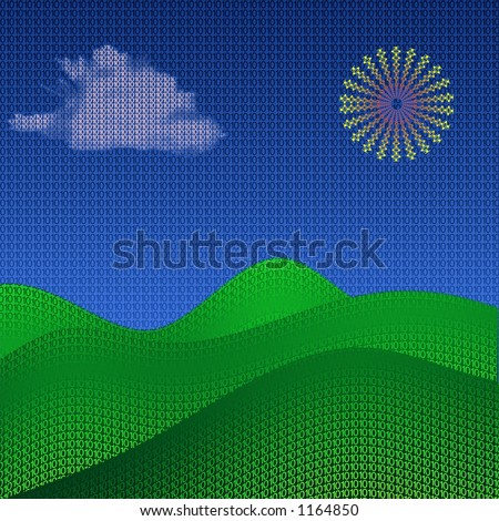 A simple landscape made of binary code - stock photo