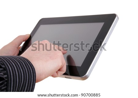 A simple pad and businessman hand, isolated on white background