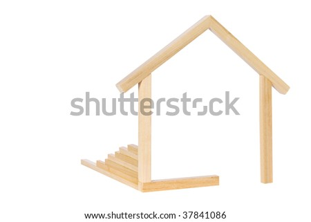 A simple wooden frame in the shape of a house.  Symbol for new home construction.  Something a little different.  Isolated on white. - stock photo