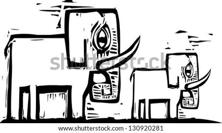 A simply designed woodcut style image of a mother elephant and her baby. - stock photo