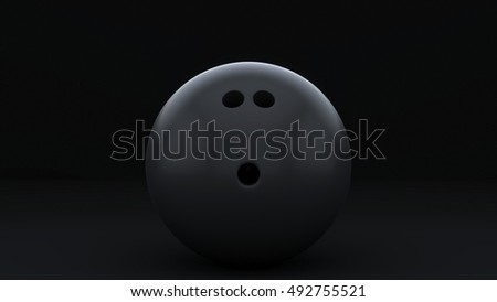 A single black bowling ball in a dark empty space This image is a 3D Illustration.