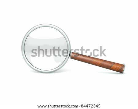 a single black magnifier isolated on white - stock photo