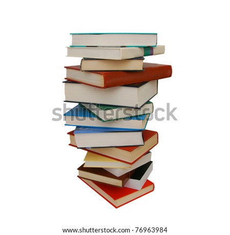 A single book pile isolated white - stock photo