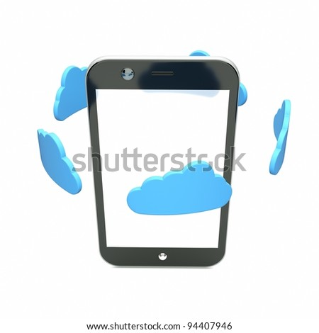 a single cellphone with blue clouds on white - stock photo
