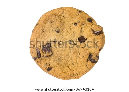 A single chocolate chip cookie from a bakery isolated on a white background.