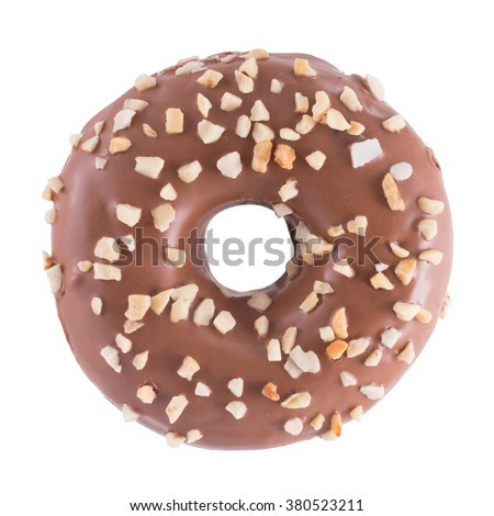 A single chocolate glazed donut with nuts isolated white background top view - stock photo