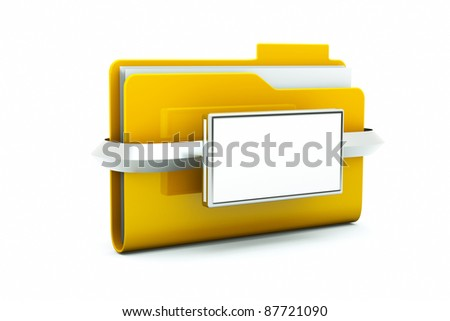 a single close folder with blank space on it on white - stock photo
