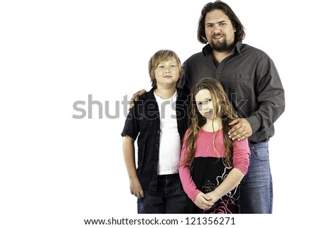 A single dad with his son and daughter isolated on white - stock photo