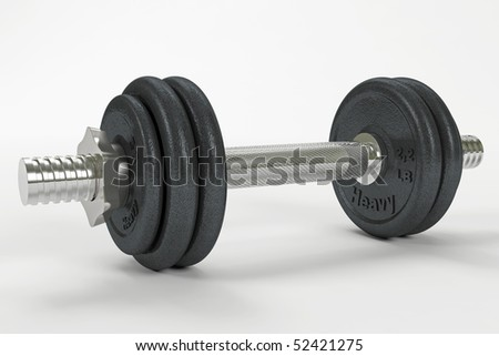 A single dumbbell with clipping path - stock photo
