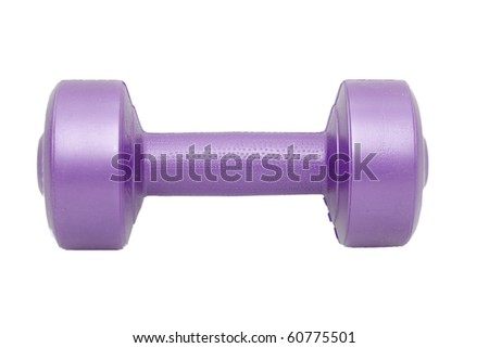 a single dumbell on white - stock photo