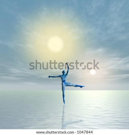 A single figure dances upon a surface of water while 2 suns set or rise in the distance