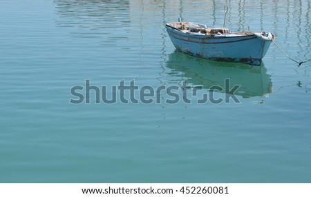 A single fishing boat in the Mediterranean sea