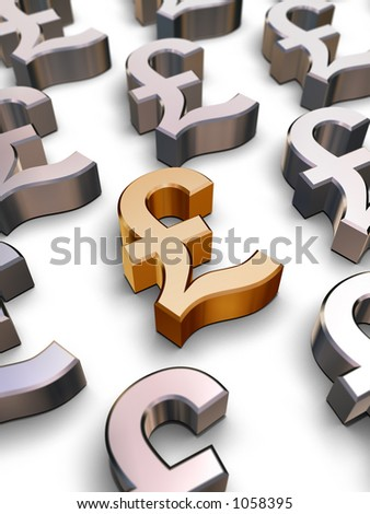 A single golden Sterling Pound symbol surrounded by many chrome-plated British Pound symbols (3D rendering) - stock photo