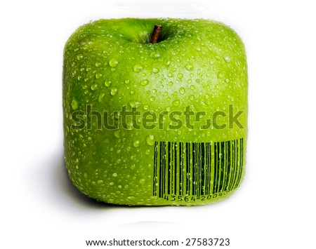 A single green apple in the shape of a square isolated on white with water droplets on it. A generic (not real) bar code printed on the apple. - stock photo