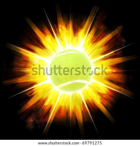 A single green tennis ball over an exploding fire burst background. - stock photo