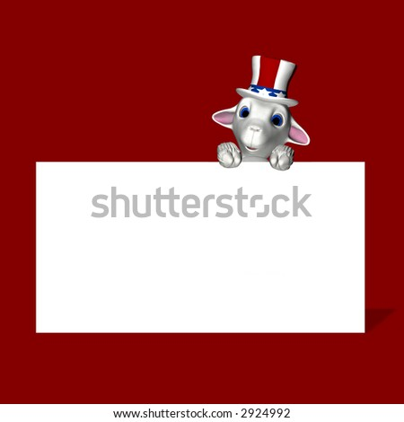 A single lamb, wearing a red, white, and blue hat, to represent a group of American voters.   Republican. Political humor. - stock photo