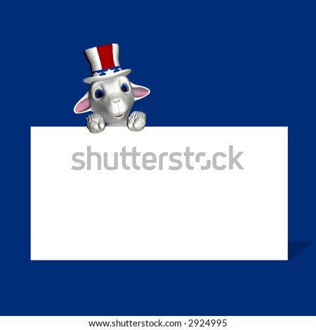 A single lamb, wearing a red, white, and blue hat, to represent a group of American voters. Democrat. Political humor.