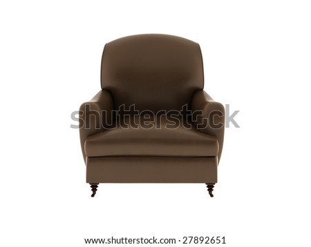 a single leather sofa isolated with white background.