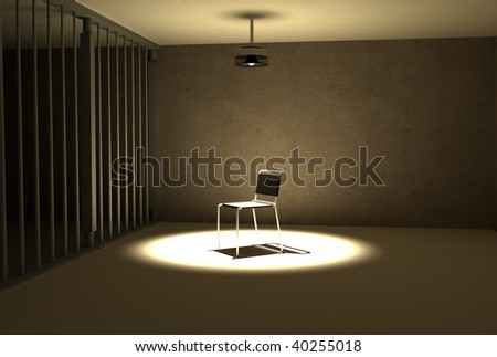 a single light hangs of the chair of interrogation at prison - stock photo