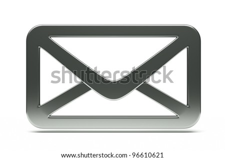 a single mail icon, creative envelope isolated  on white