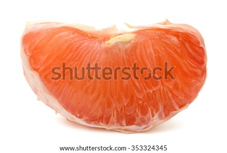 A single peel of ruby red grapefruit