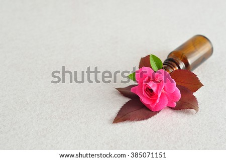 A single pink rose displayed in a small brown bottle on a white background