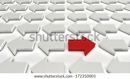A single red arrow going the opposite direction from many white arrows - stock photo
