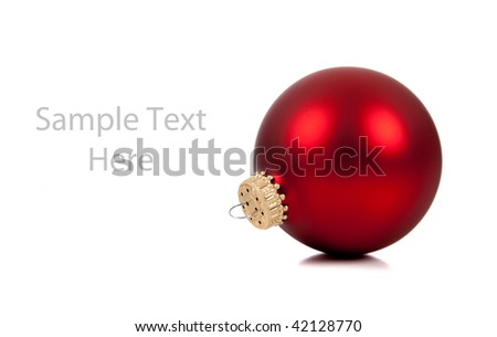 a single red Christmas ornament/bauble on a white background with copy space - stock photo