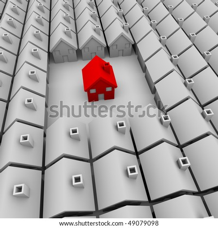 A single red house stands apart from many white homes - stock photo