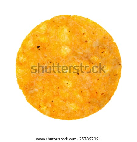 A single round barbecue flavored potato chip on a white background. - stock photo