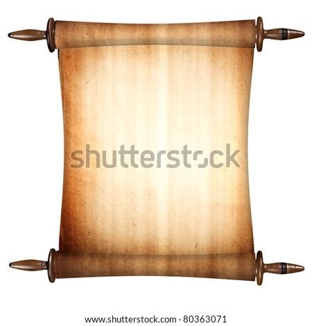 a single scroll on white - stock photo