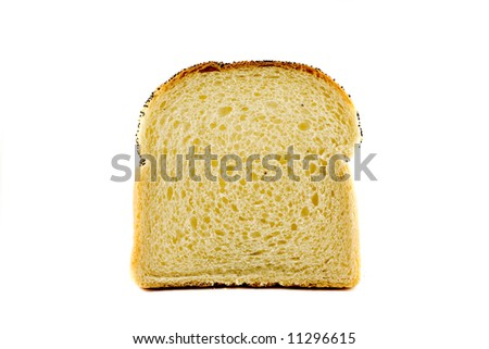 A single slice of toast isolated on white background - stock photo