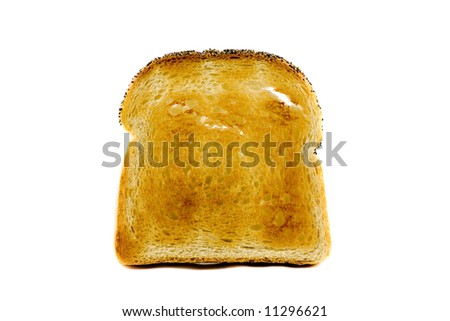 A single slice of toasted bread isolated on white background - stock photo